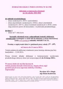 ogłoszenie rekrutacja na 2021 2022 SP Słup